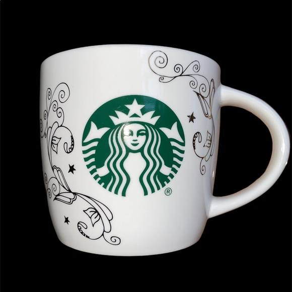 Starbucks coffee mug with gold accent